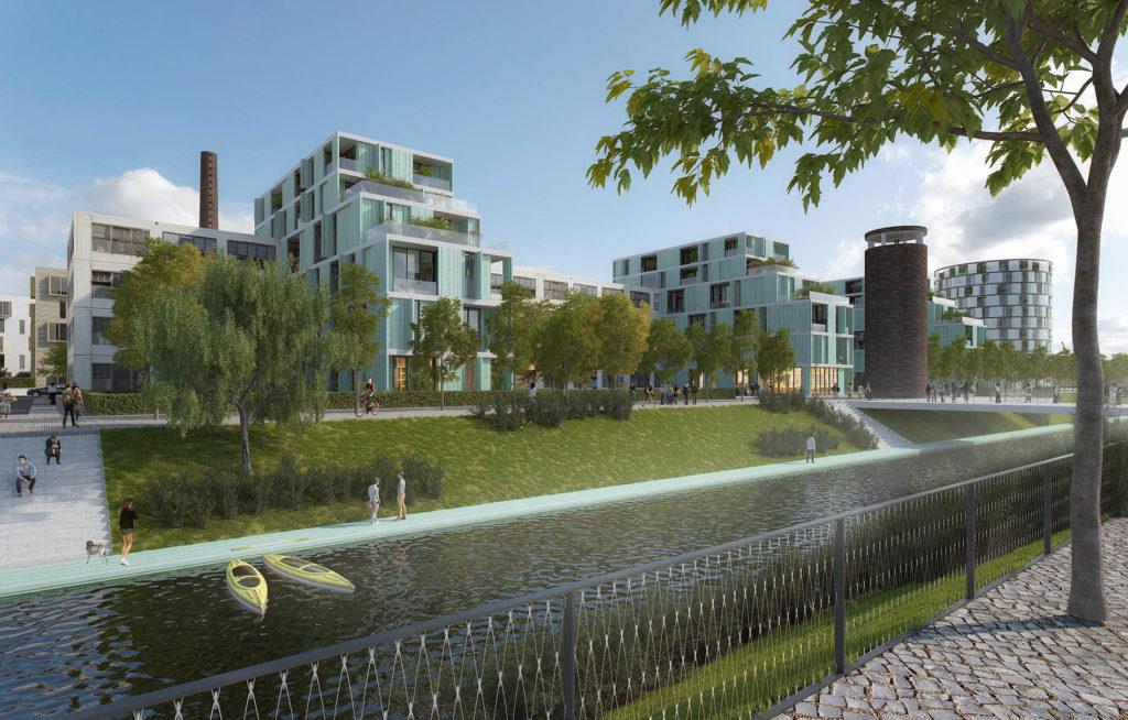 Výstava představuje část Nové Zbrojovky určenou pro rezidenční bydlení na nábřeží Svitavy