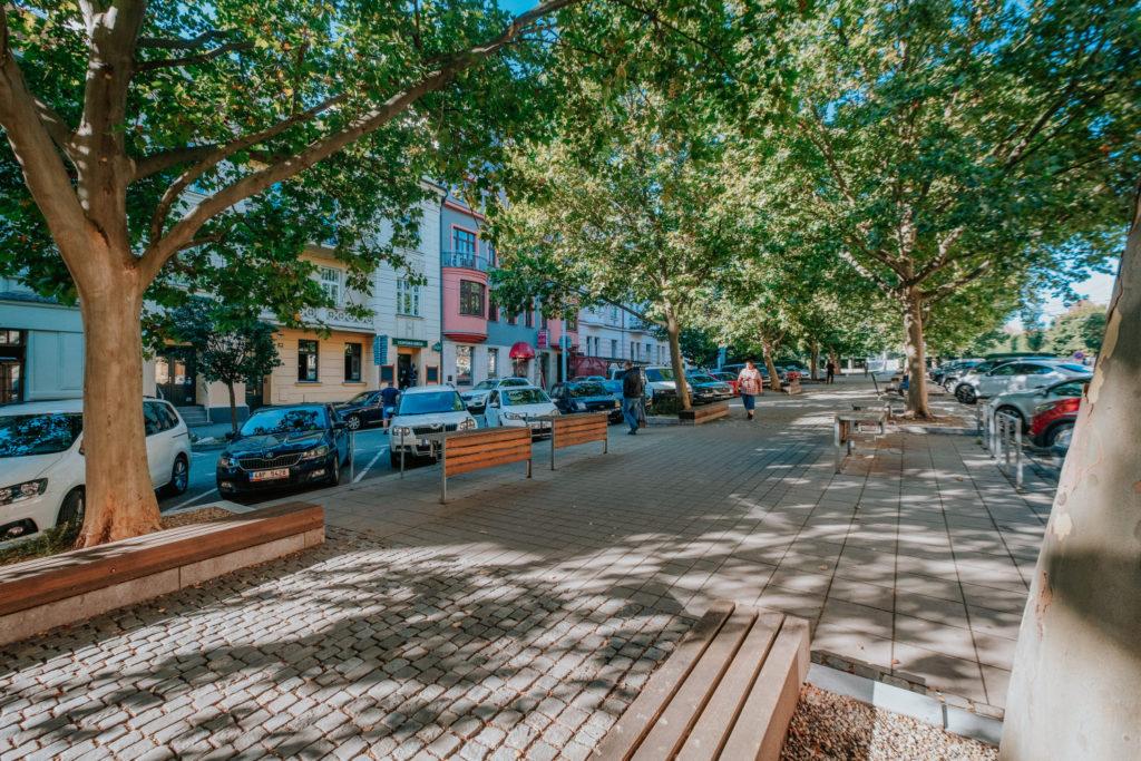 Součástí veřejného prostoru Husitské ulice je platanové stromořadí
